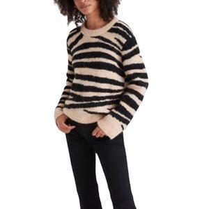 Madewell Wool Alpaca Pullover Sweater Tiger Stripe
